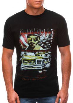 Juodi vyriški marškinėliai su nuotrauka S1494 21630-1