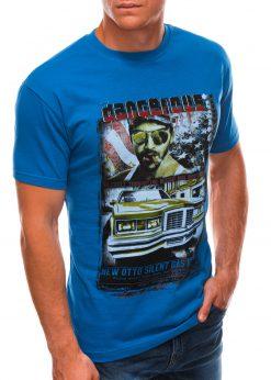 Sodriai mėlyni vyriški marškinėliai su nuotrauka S1494 21632-1