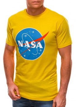 Geltoni vyriški marškinėliai su užrašu nasa S1497 21666-3