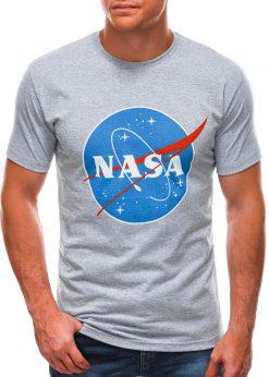 Pilki vyriški marškinėliai su užrašu nasa S1497 21667-2