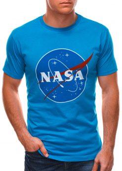 Mėlyni vyriški marškinėliai su užrašu nasa S1497 21668-2