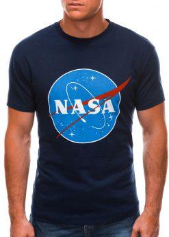 Tamsiai mėlyni vyriški marškinėliai su užrašu nasa S1497 21669-2