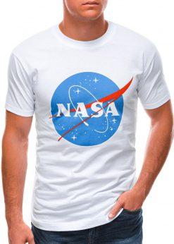 Balti vyriški marškinėliai su užrašu nasa S1497 21672-4
