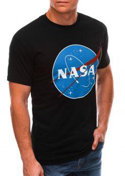 Juodi vyriški marškinėliai su užrašu nasa S1497 21673-4