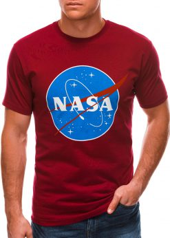 Raudoni vyriški marškinėliai su užrašu nasa S1497 21675-3