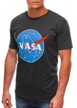 Tamsiai pilki vyriški marškinėliai su užrašu nasa S1497 21676-4