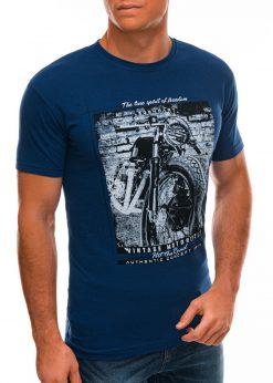 Sodriai mėlyni vyriški marškinėliai su nuotrauka S1500 21712-1
