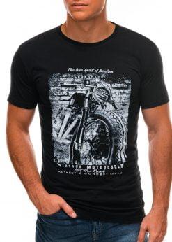 Juodi vyriški marškinėliai su nuotrauka S1500 21713-2