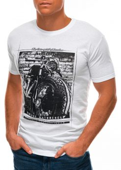 Balti vyriški marškinėliai su nuotrauka S1500 21714-4