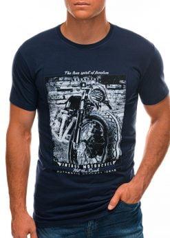 Tamsiai mėlyni vyriški marškinėliai su nuotrauka S1500 21716-2