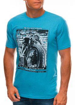 Šviesiai mėlyni vyriški marškinėliai su nuotrauka S1500 21717-4