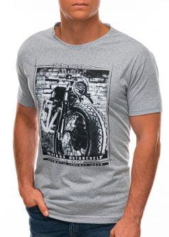 Pilki vyriški marškinėliai su nuotrauka S1500 21718-4