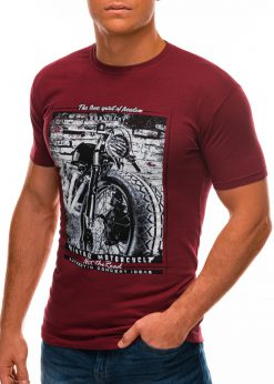 Tamsiai raudoni vyriški marškinėliai su nuotrauka S1500 21719-2