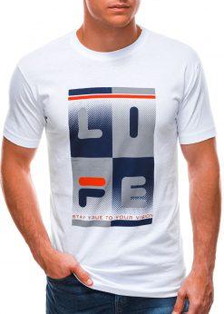 Balti vyriški marškinėliai su užrašu S1501 21725-3