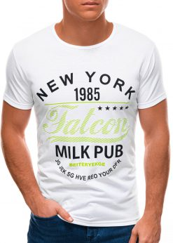 Balti vyriški marškinėliai su užrašu S1503 21732-4