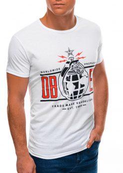 Balti vyriški marškinėliai su užrašu S1504 21733-4