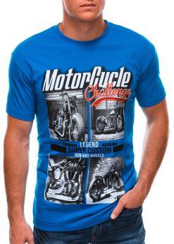 Ryškiai mėlyni vyriški marškinėliai su nuotrauka S1496 21743-1