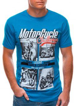 Mėlyni vyriški marškinėliai su nuotrauka S1496 21746-1