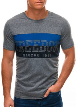 Tamsiai pilki vyriški marškinėliai su užrašu S1507 21753-2