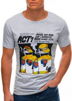 Pilki vyriški marškinėliai su aplikacija S1508 21756-2