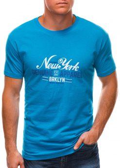 Mėlyni vyriški marškinėliai su užrašu S1498 21759-1