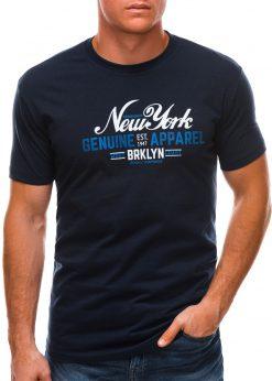 Sodriai mėlyni vyriški marškinėliai su užrašu S1498 21760-1
