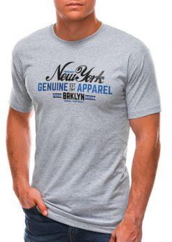 Pilki vyriški marškinėliai su užrašu S1498 21761-1
