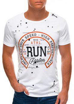 Balti vyriški marškinėliai su užrašu S1509 21762-2