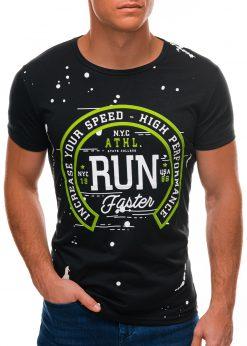 Juodi vyriški marškinėliai su užrašu S1509 21763-3