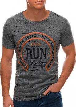 Tamsiai pilki vyriški marškinėliai su užrašu S1509 21764-2