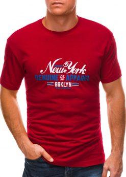 Raudoni vyriški marškinėliai su užrašu S1498 21765-1