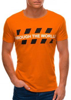 Oranžiniai vyriški marškinėliai su užrašu S1510 21768-2