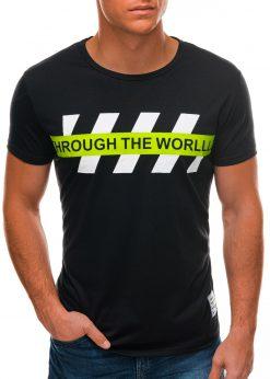 Juodi vyriški marškinėliai su užrašu S1510 21769-1