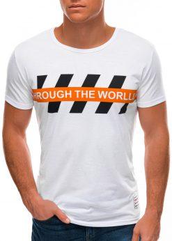 Balti vyriški marškinėliai su užrašu S1510 21770-2