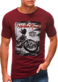 Tamsiai raudoni vyriški marškinėliai su nuotrauka S1499 21771-1