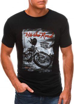 Juodi vyriški marškinėliai su nuotrauka S1499 21776-1