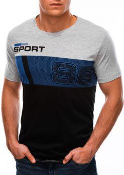 Šviesiai pilki vyriški marškinėliai su užrašu S1513 21777-4