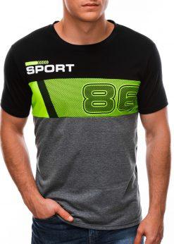Juodi vyriški marškinėliai su užrašu S1513 21778-2