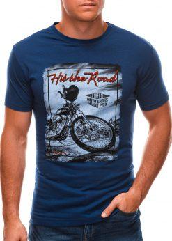 Tamsiai mėlyni vyriški marškinėliai su nuotrauka S1499 21779-1