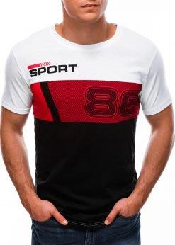 Balti vyriški marškinėliai su užrašu S1513 21780-3