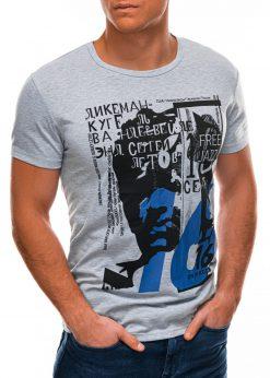 Pilki vyriški marškinėliai su aplikacija internetu S1502 21866-1