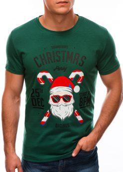 Žali kalėdiniai marškinėliai su Kalėdų seneliu internetu S1512 21869-1